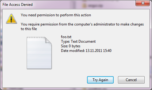 You require permission from the computer's administrator to make changes to this file